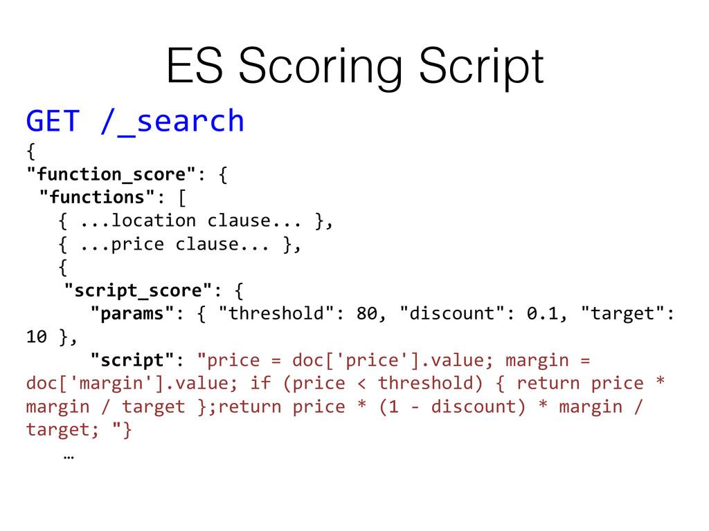 ES Scoring Script! GET /_search   { ...