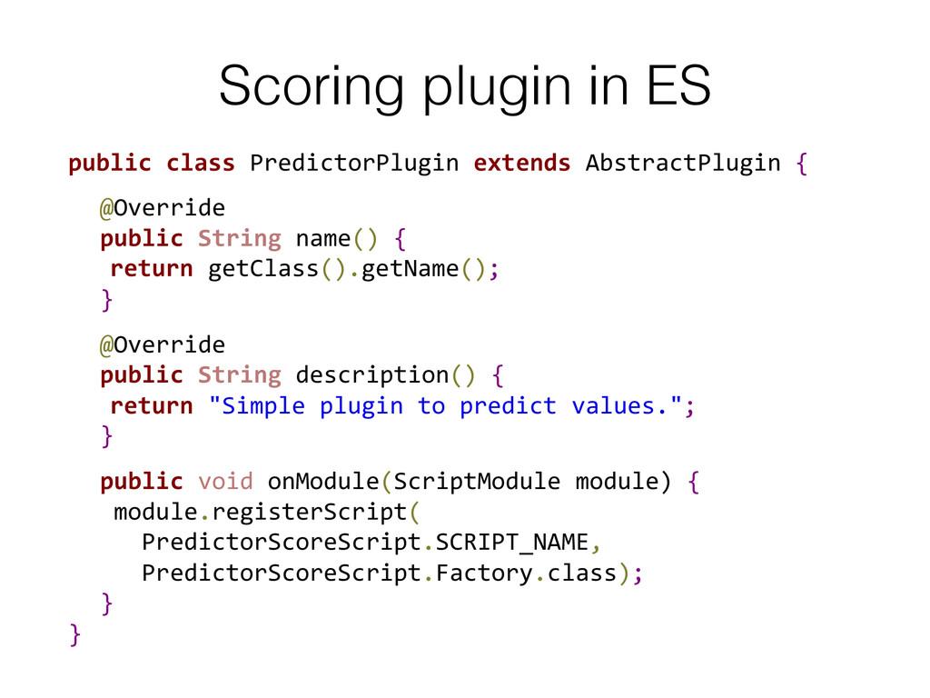 Scoring plugin in ES! public class Predic...
