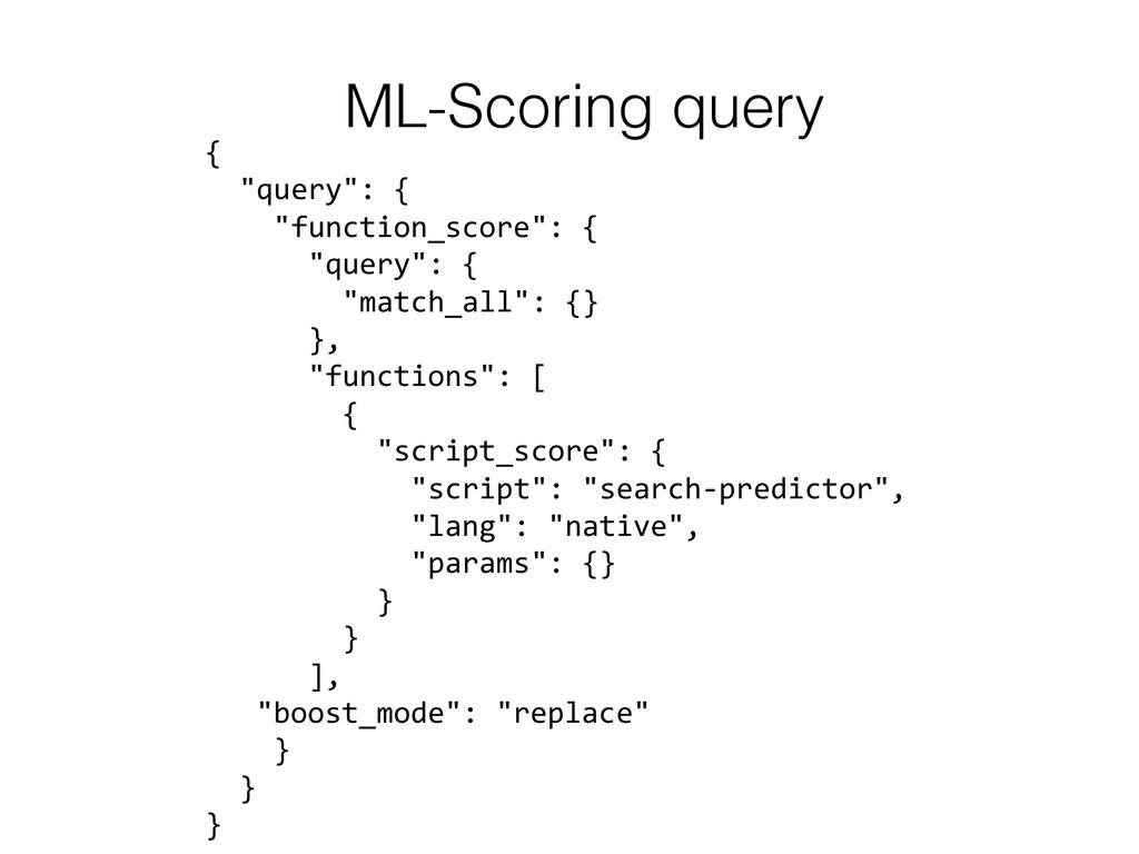 """ML-Scoring query ! {    """"query"""": {..."""