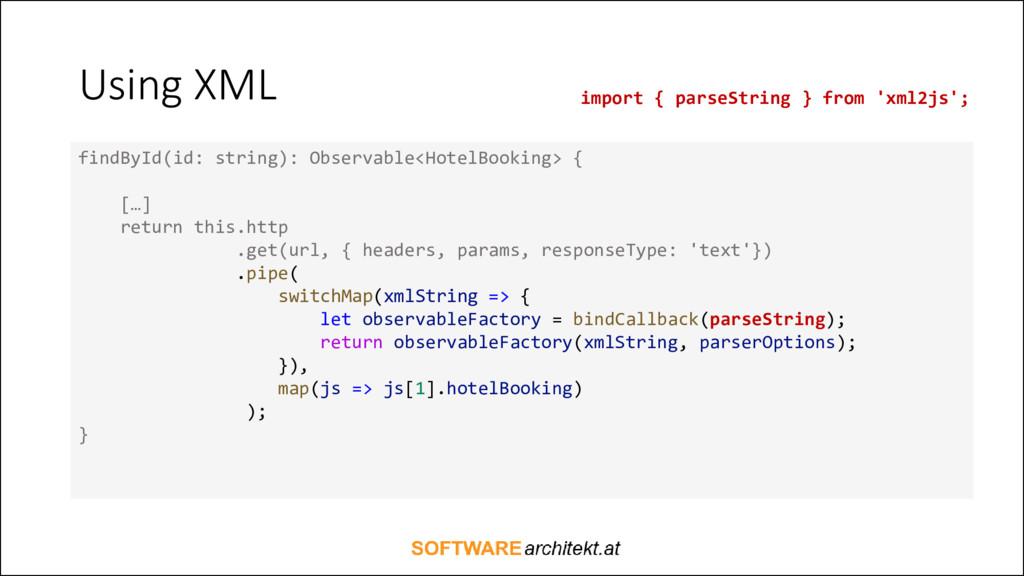 Using XML findById(id: string): Observable<Hote...