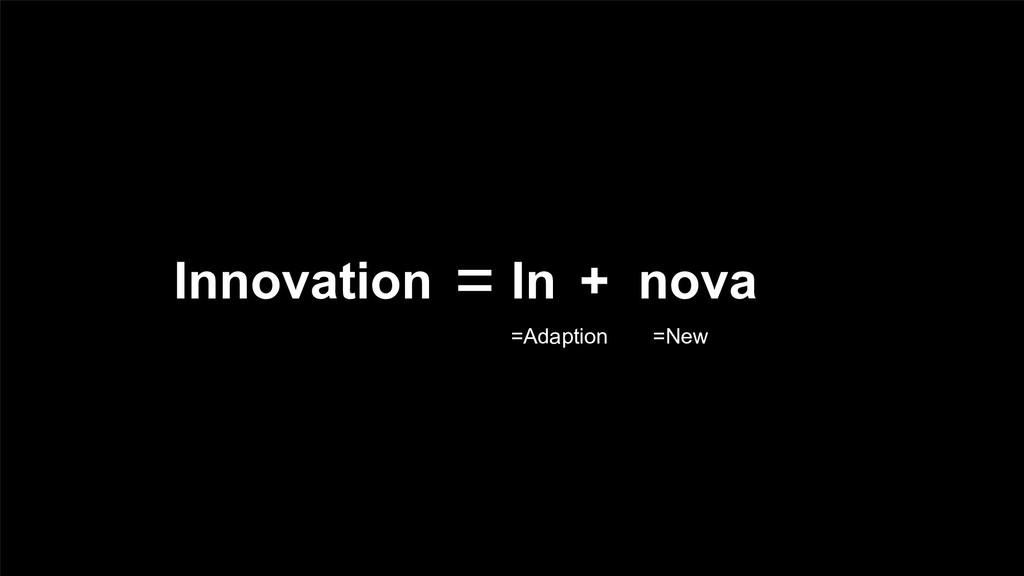 Innovation = + In =Adaption nova =New