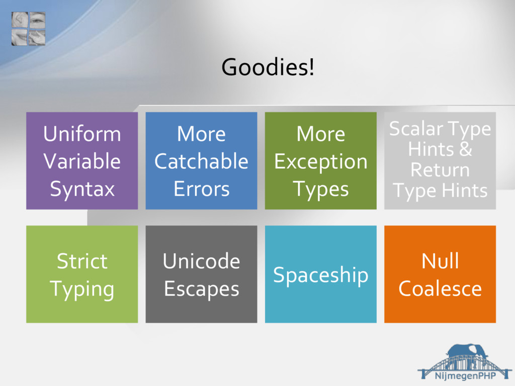 Goodies! Spaceship Unicode Escapes Strict Typin...