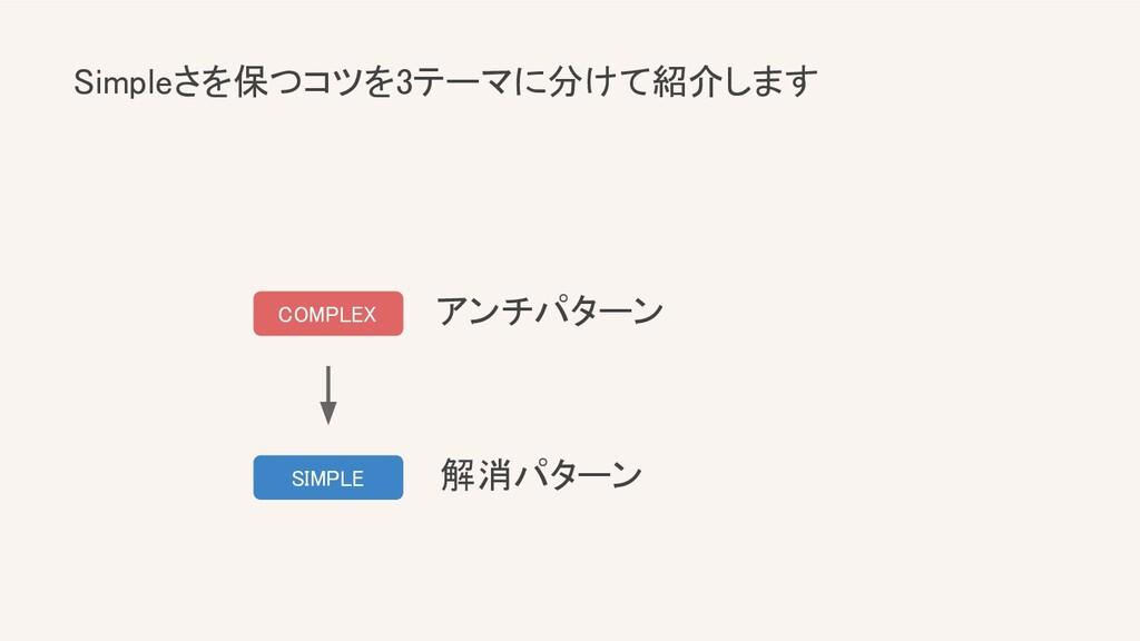 Simpleさを保つコツを3テーマに分けて紹介します SIMPLE COMPLEX アン...
