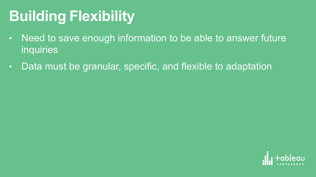 Building Flexibility • Need to save enough ...