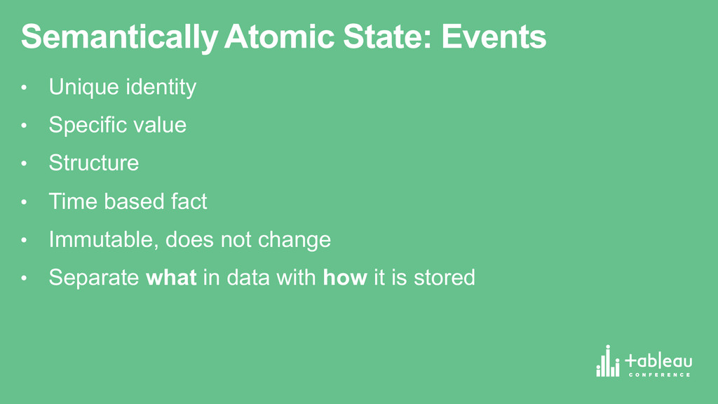 Semantically Atomic State: Events • Unique ...