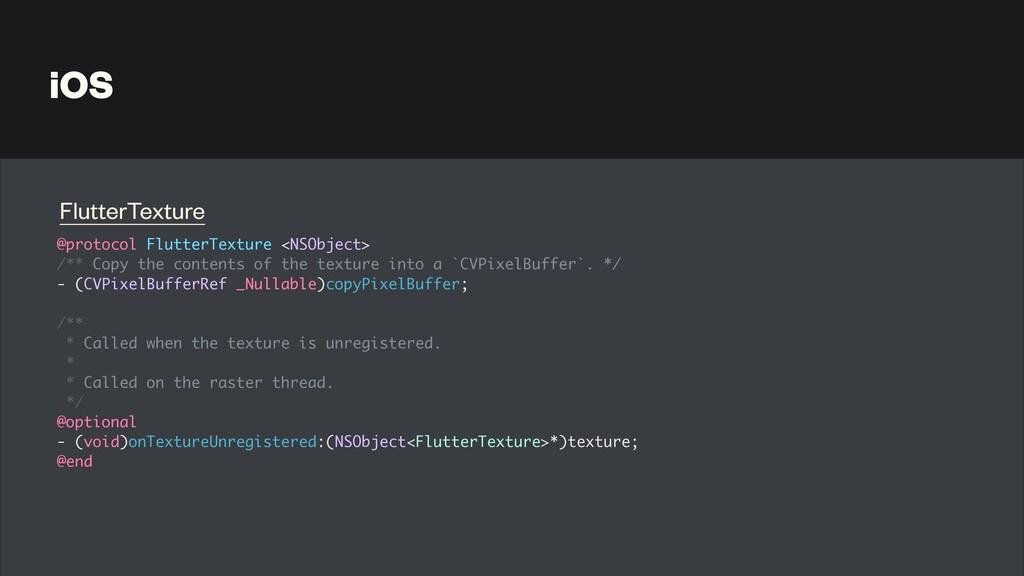 iOS @protocol FlutterTexture <NSObject >  /** C...
