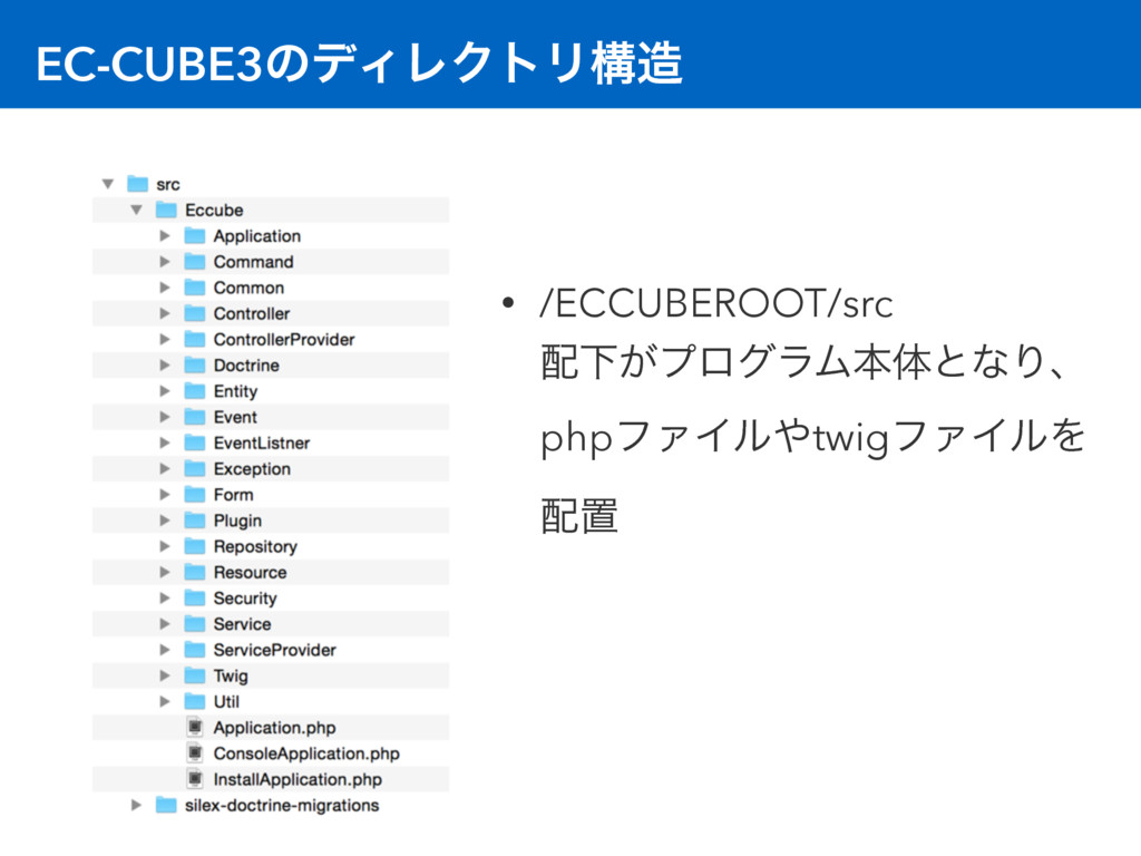 EC-CUBE3ͷσΟϨΫτϦߏ • /ECCUBEROOT/src Լ͕ϓϩάϥϜຊମ...