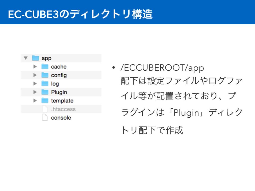 EC-CUBE3ͷσΟϨΫτϦߏ • /ECCUBEROOT/app ԼઃఆϑΝΠϧ...