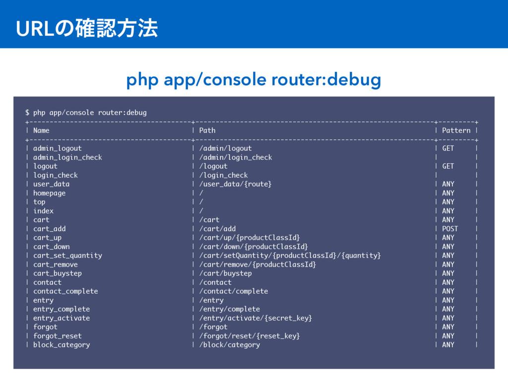 URLͷ֬ํ๏ $ php app/console router:debug +------...