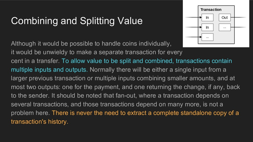 Combining and Splitting Value Although it would...