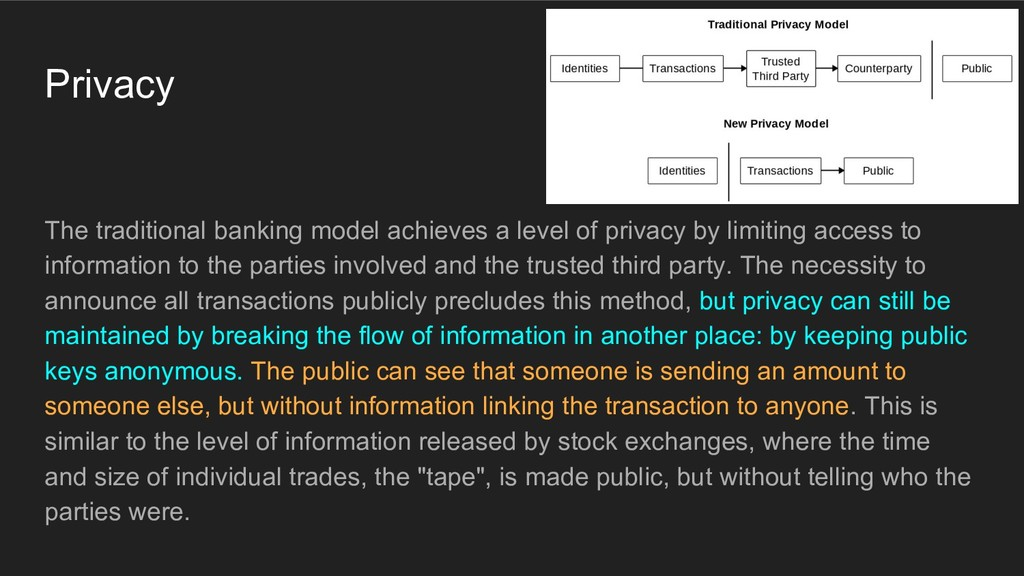 Privacy The traditional banking model achieves ...