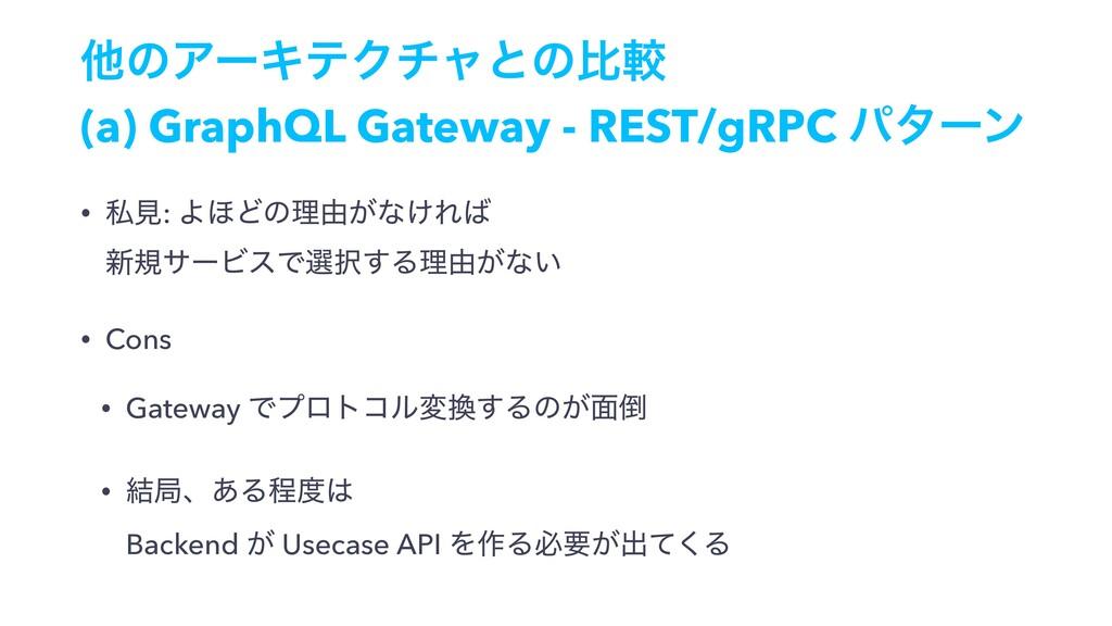 ଞͷΞʔΩςΫνϟͱͷൺֱ (a) GraphQL Gateway - REST/gRPC ύ...