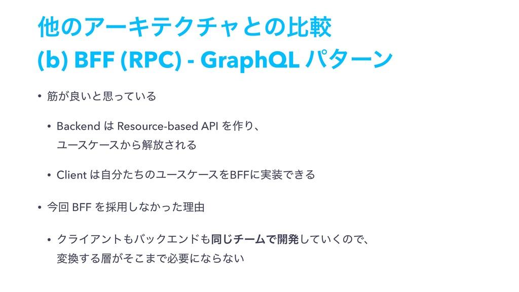 ଞͷΞʔΩςΫνϟͱͷൺֱ (b) BFF (RPC) - GraphQL ύλʔϯ • ے͕...