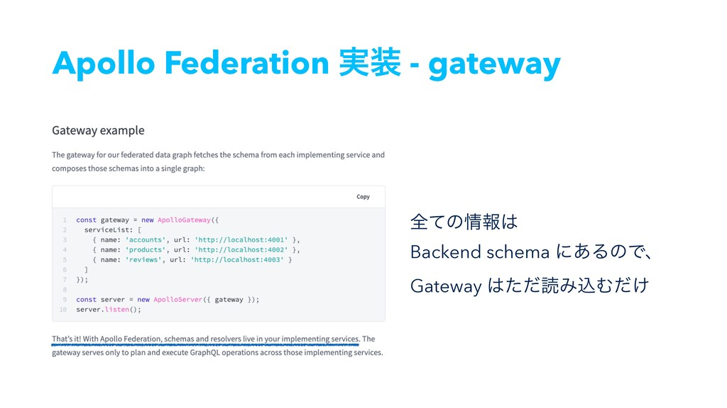 Apollo Federation ࣮ - gateway શͯͷใ Backend s...