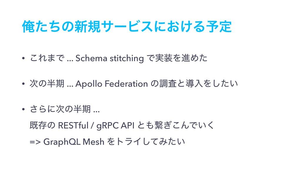 Զͨͪͷ৽نαʔϏεʹ͓͚Δ༧ఆ • ͜Ε·Ͱ ... Schema stitching Ͱ࣮...