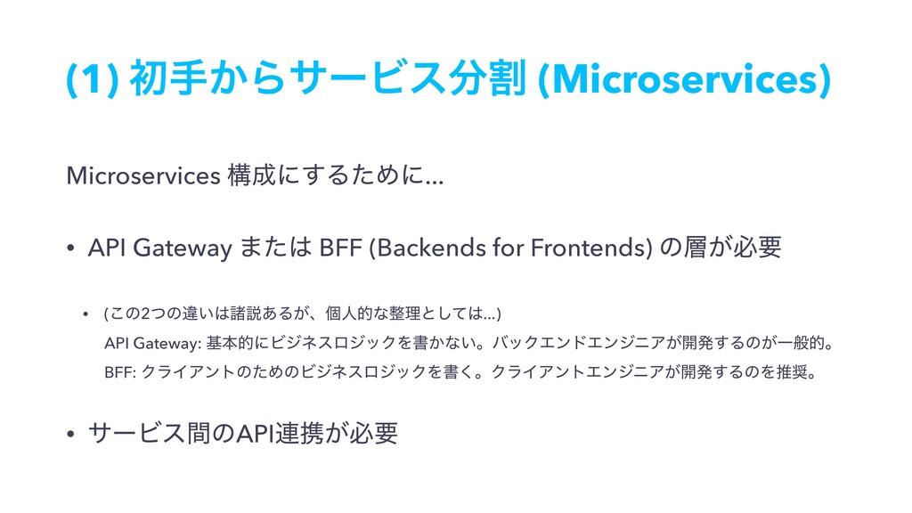 (1) ॳख͔ΒαʔϏεׂ (Microservices) Microservices ߏ...