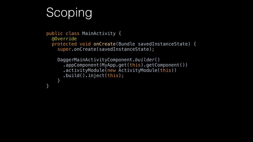 Scoping public class MainActivity { @Override ...
