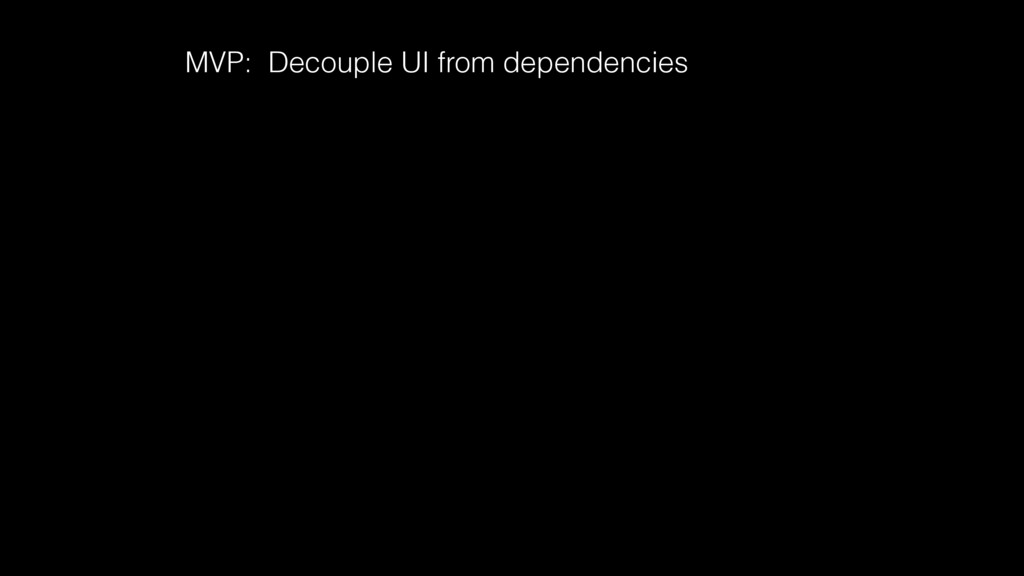 MVP: Decouple UI from dependencies