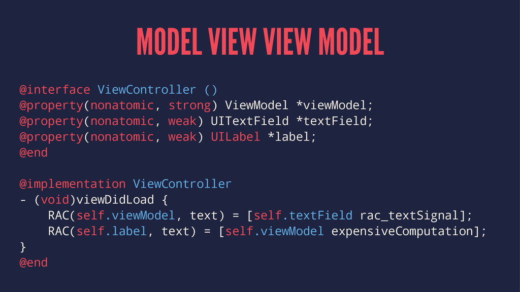 MODEL VIEW VIEW MODEL @interface ViewController...