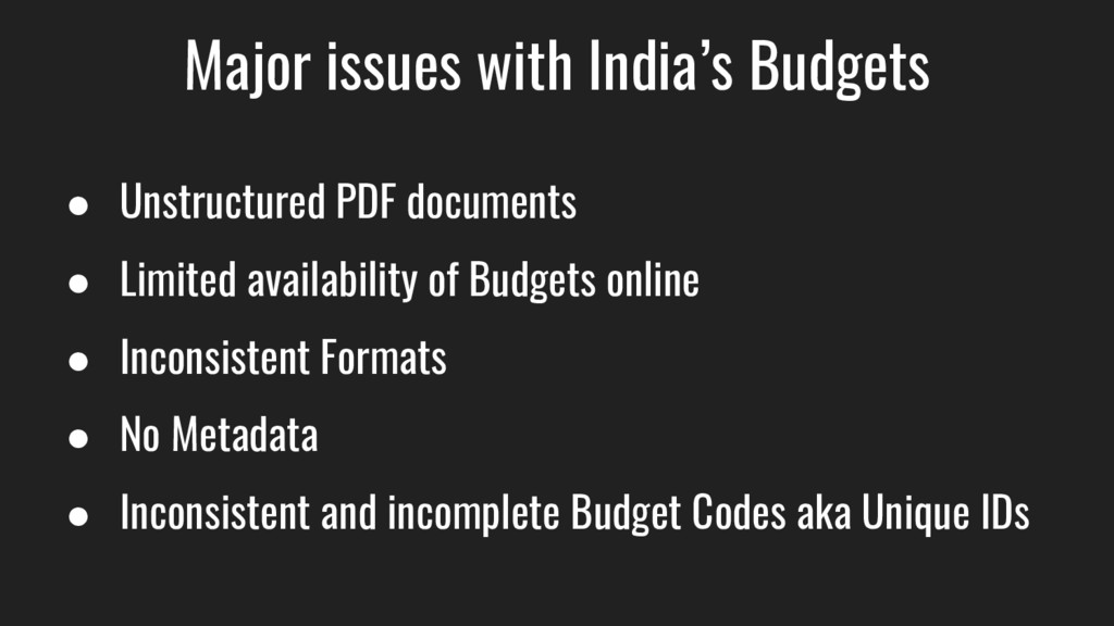 Major issues with India's Budgets ● Unstructure...