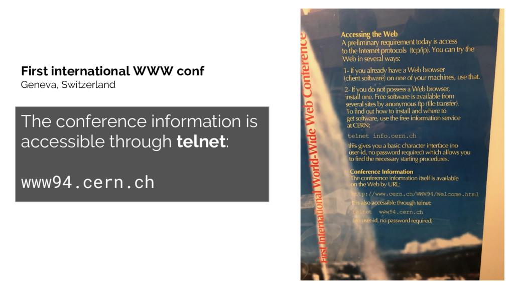 First international WWW conf Geneva, Switzerlan...