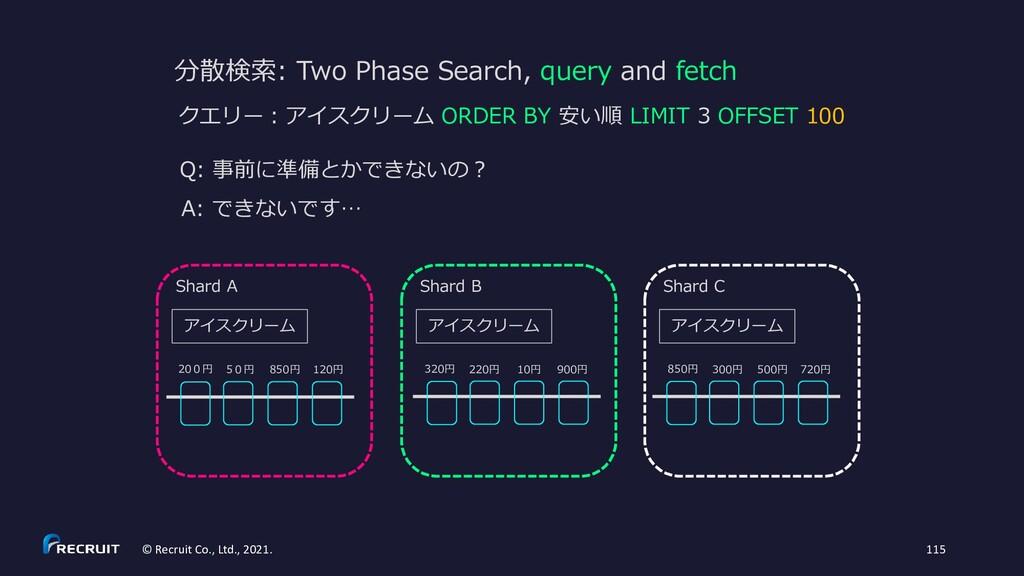 分散検索: Two Phase Search, query and fetch Q: 事前に準...