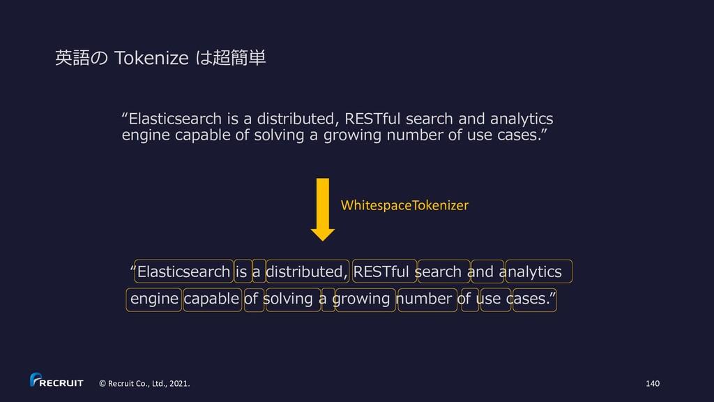 """英語の Tokenize は超簡単 """"Elasticsearch is a distribut..."""