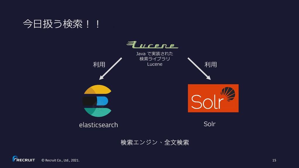 今日扱う検索!! © Recruit Co., Ltd., 2021. 15 Java で実装...