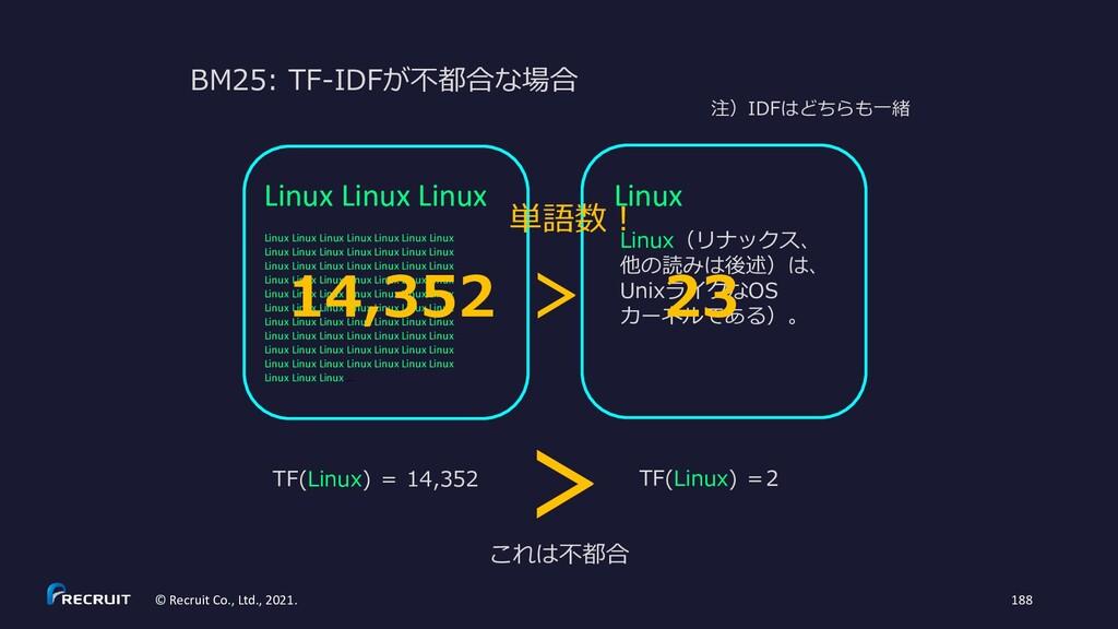 BM25: TF-IDFが不都合な場合 Linux Linux(リナックス、 他の読みは後述)...