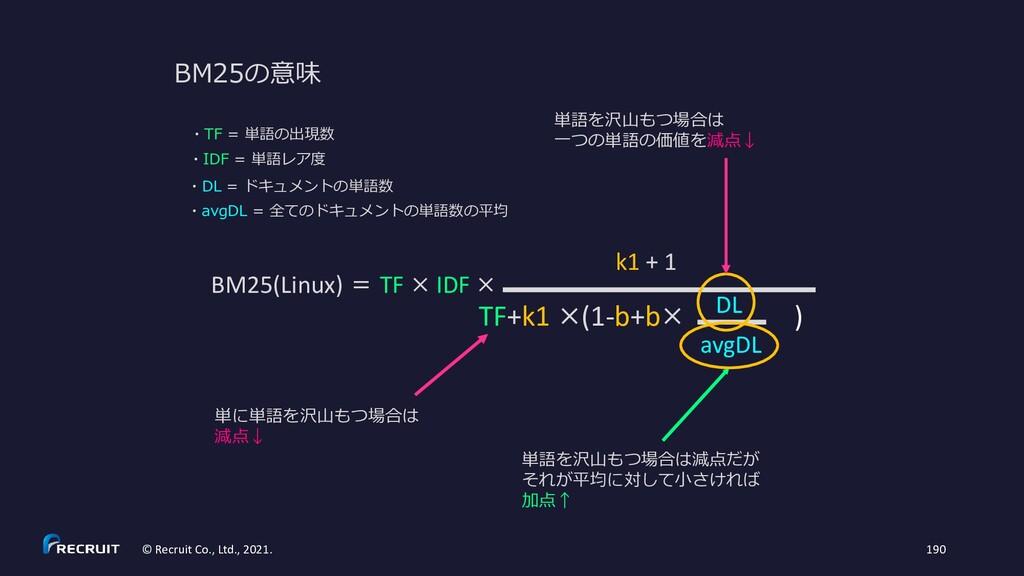 BM25の意味 BM25(Linux) = TF × IDF × TF+k1 ×(1-b+b×...