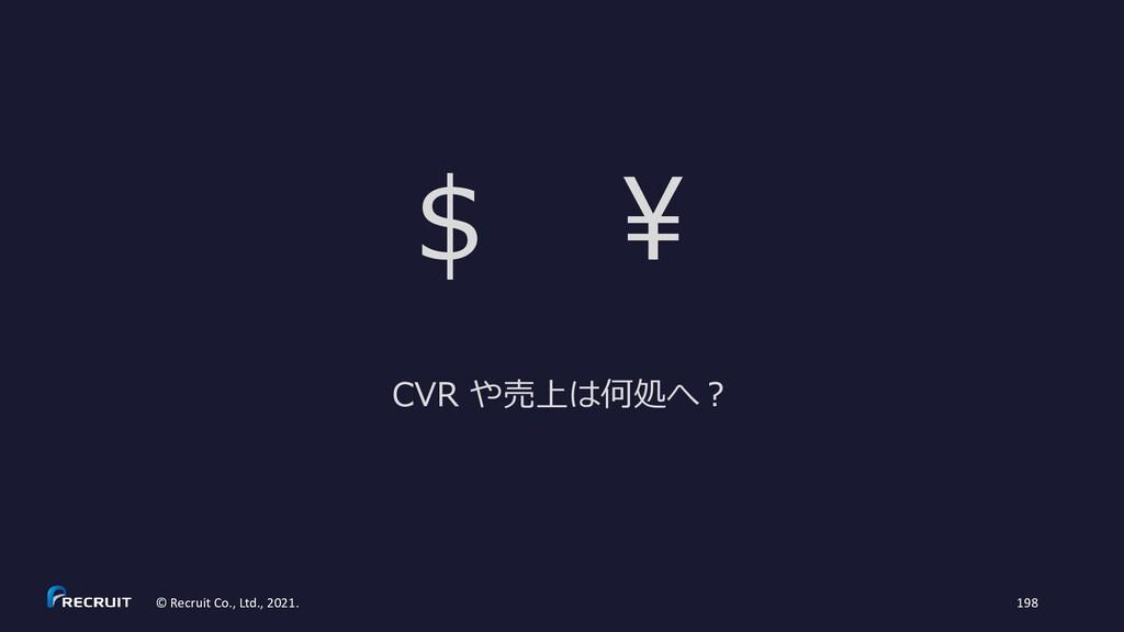 © Recruit Co., Ltd., 2021. 198 $ ¥ CVR や売上は何処へ?