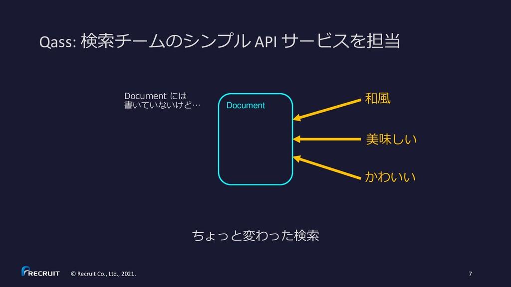 Qass: 検索チームのシンプル API サービスを担当 © Recruit Co., Ltd...