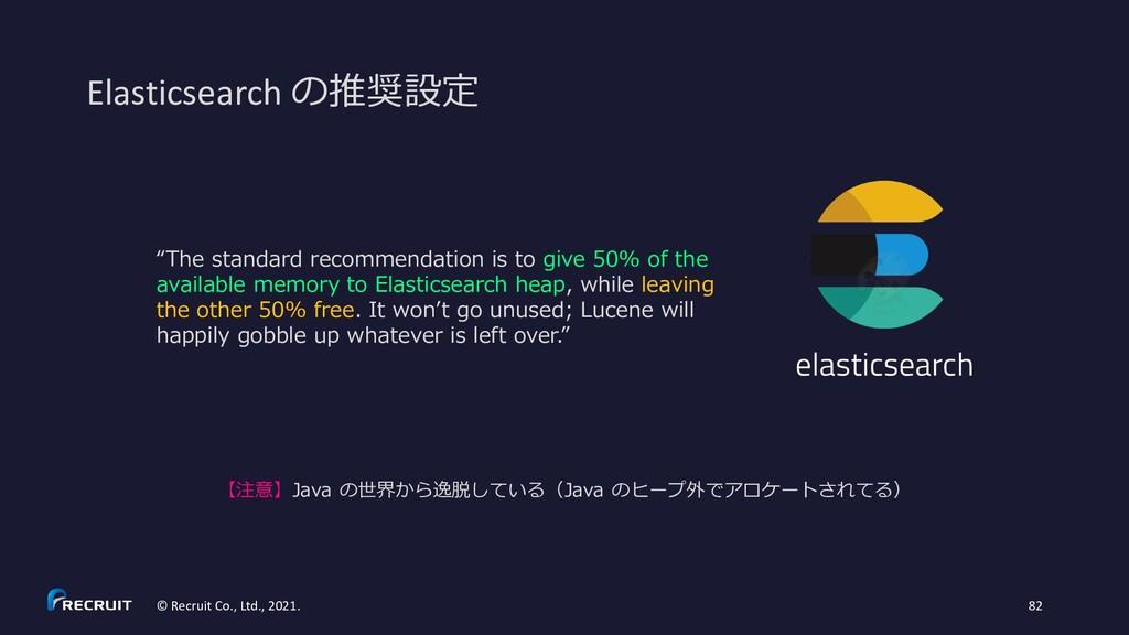 Elasticsearch の推奨設定 © Recruit Co., Ltd., 2021. ...