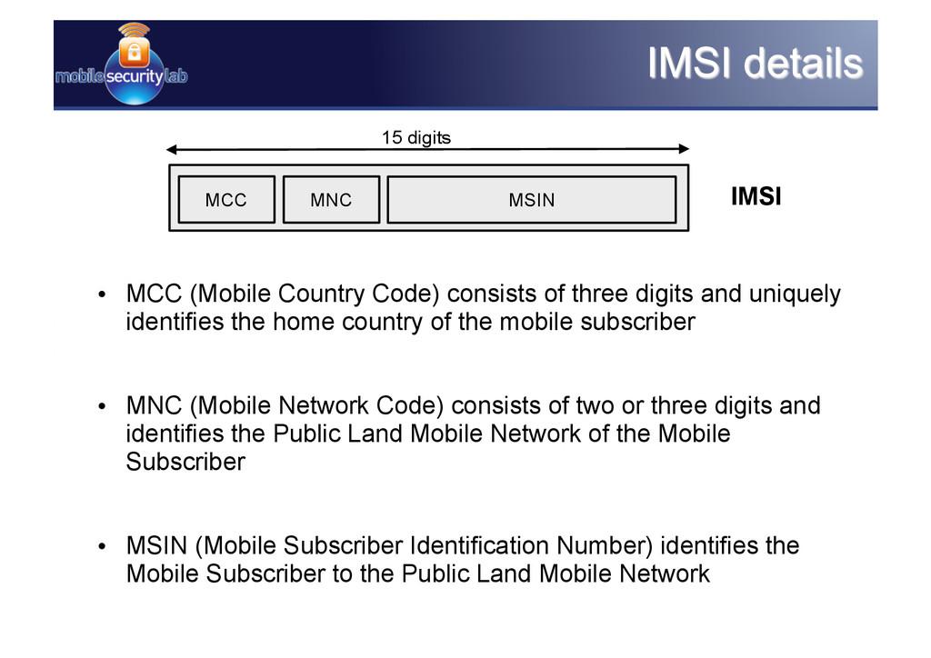 15 digits IMSI MCC MNC MSIN • MCC (Mobile Coun...