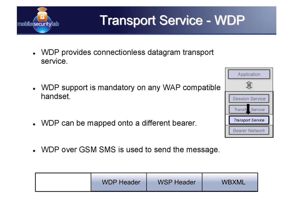   WDP provides connectionless datagram transpo...