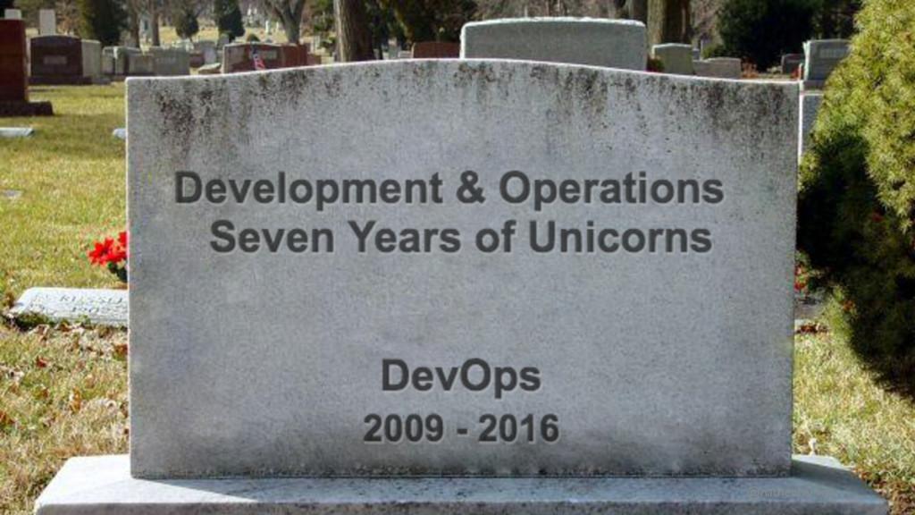 DevOps RIP DevOps, picture of a headstone @nath...