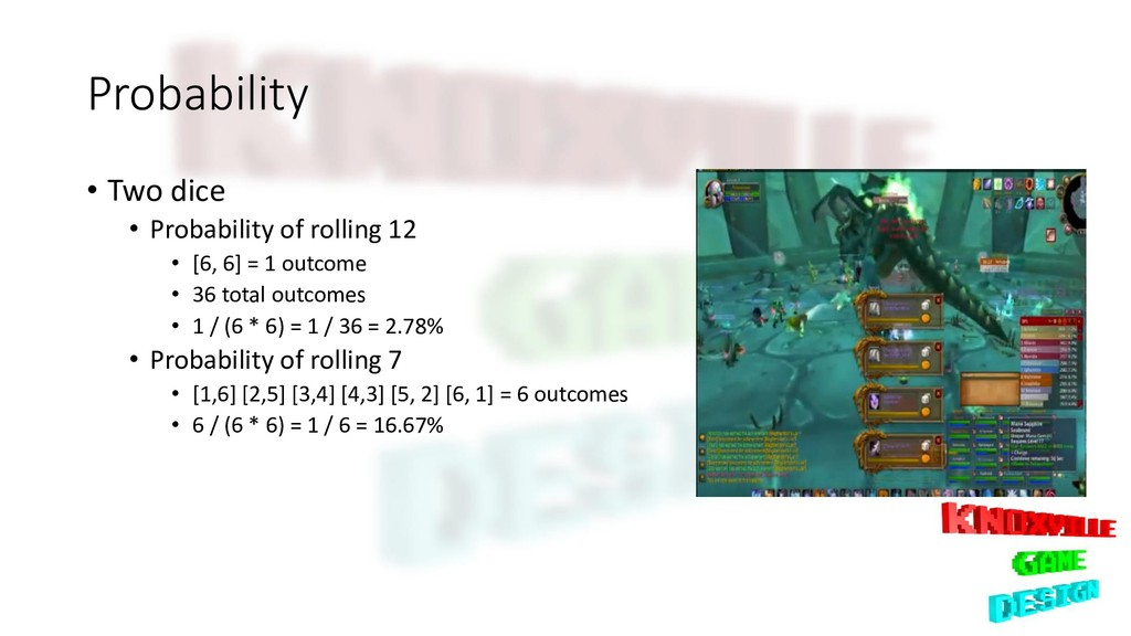 Probability • Two dice • Probability of rolling...