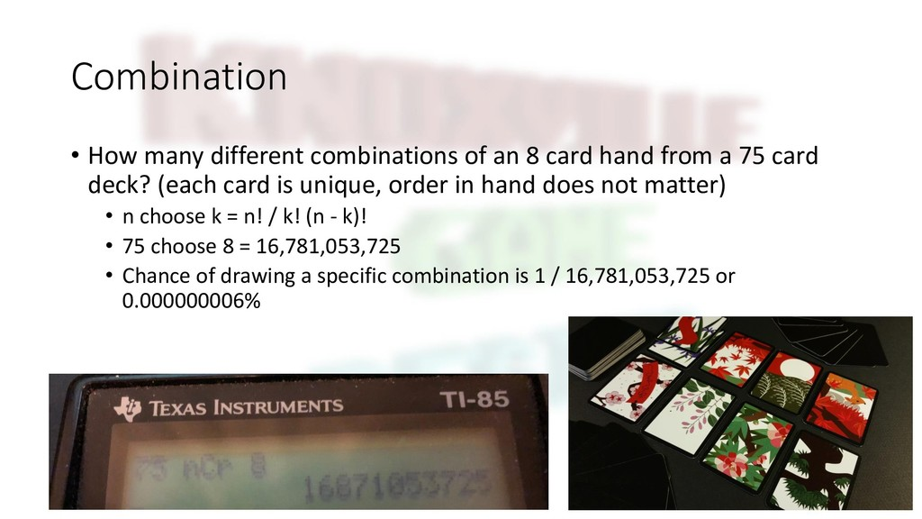 Combination • How many different combinations o...
