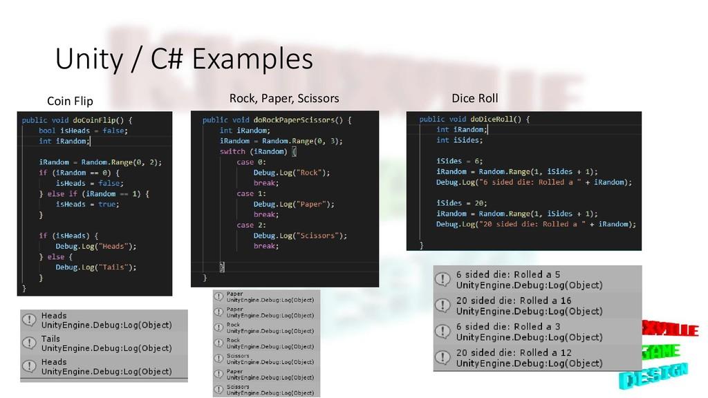 Unity / C# Examples Coin Flip Rock, Paper, Scis...