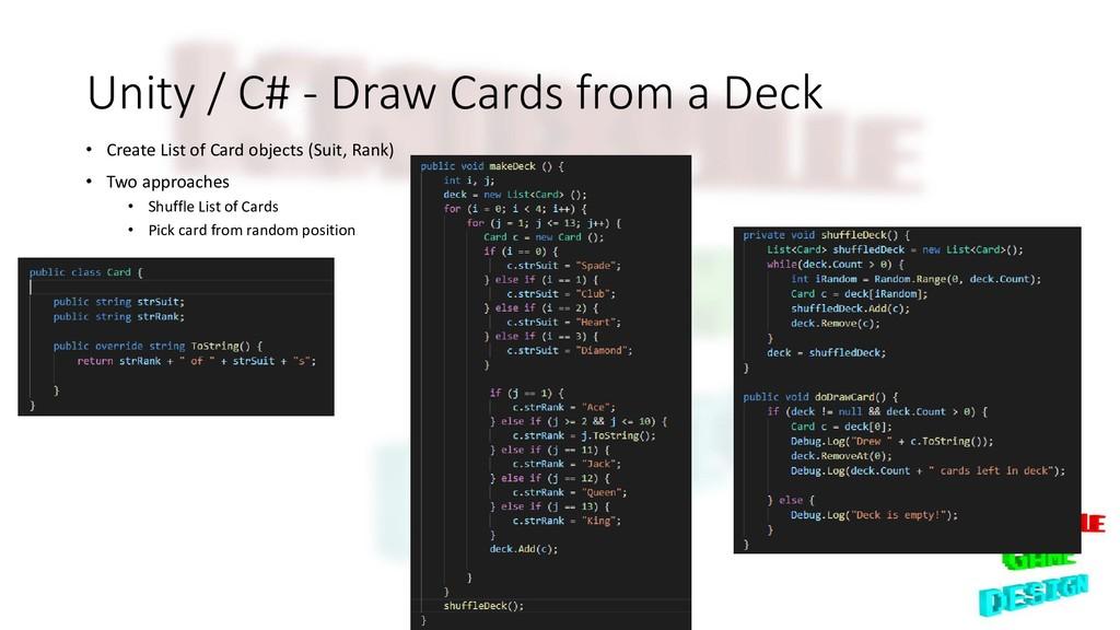 Unity / C# - Draw Cards from a Deck • Create Li...