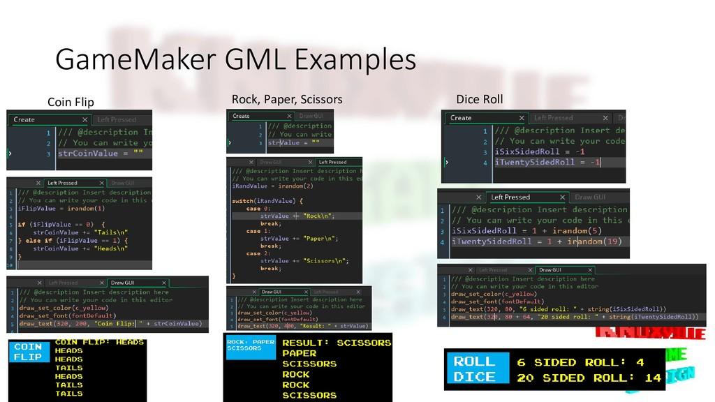GameMaker GML Examples Dice Roll Coin Flip Rock...