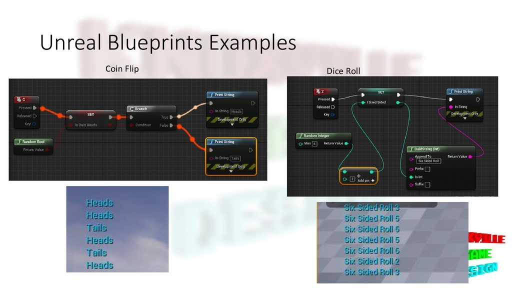 Unreal Blueprints Examples Dice Roll Coin Flip