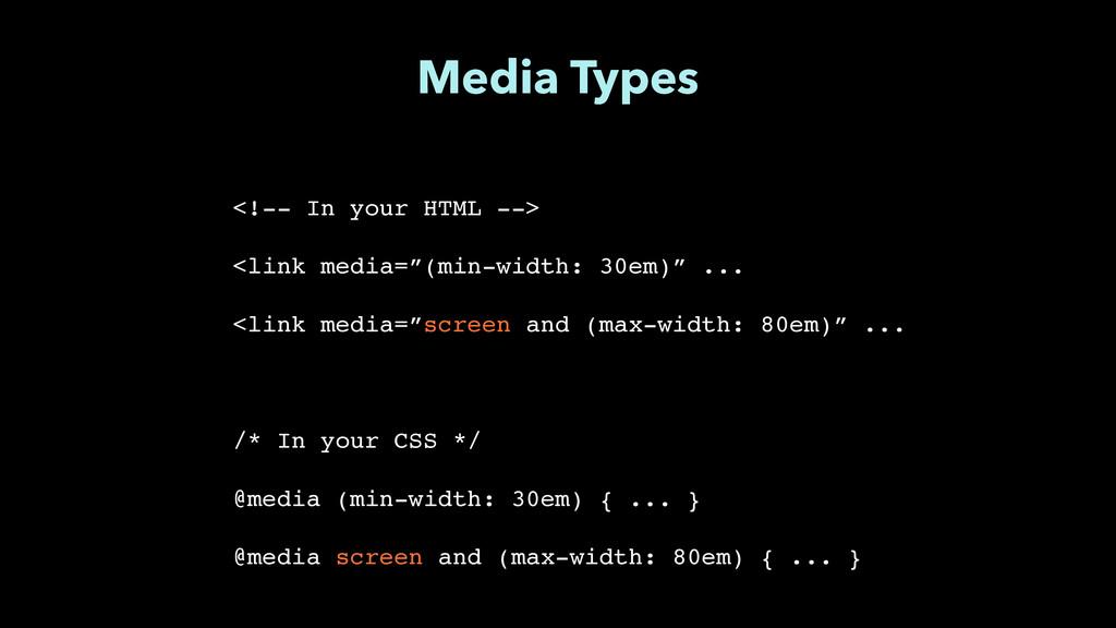"Media Types <!-- In your HTML -->"" ! <link medi..."