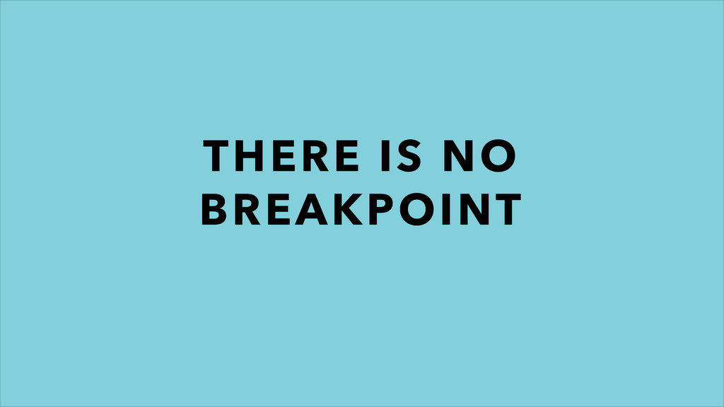THERE IS NO BREAKPOINT
