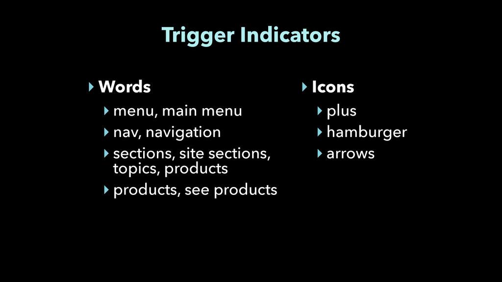 Trigger Indicators ‣ Words ‣ menu, main menu ‣ ...