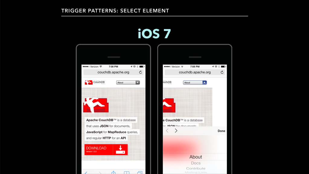 iOS 7 TRIGGER PATTERNS: SELECT ELEMENT