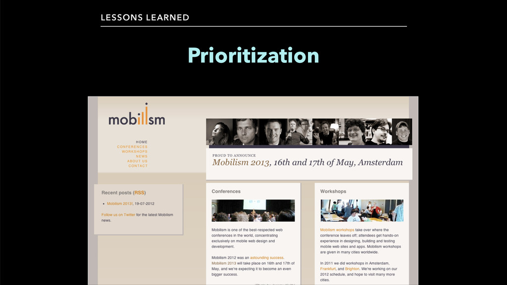 LESSONS LEARNED Prioritization