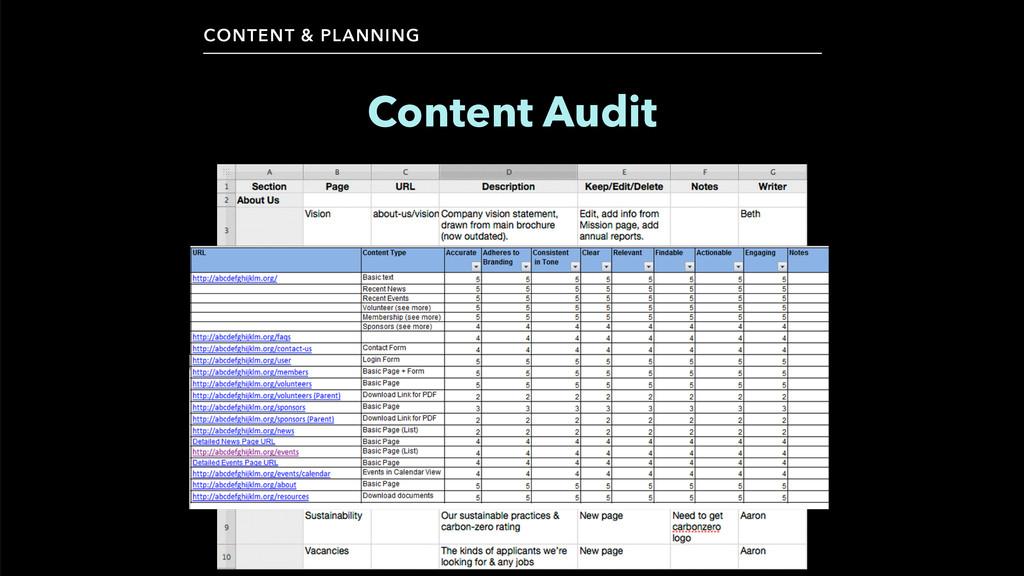 CONTENT & PLANNING Content Audit