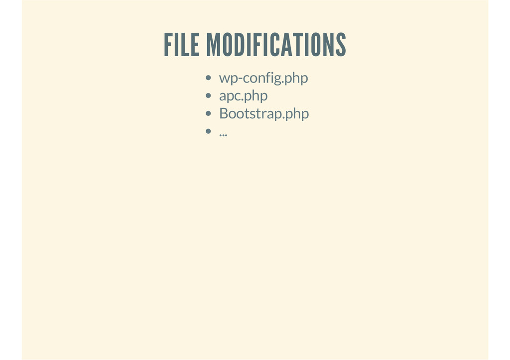 FILE MODIFICATIONS wp-config.php apc.php Bootst...
