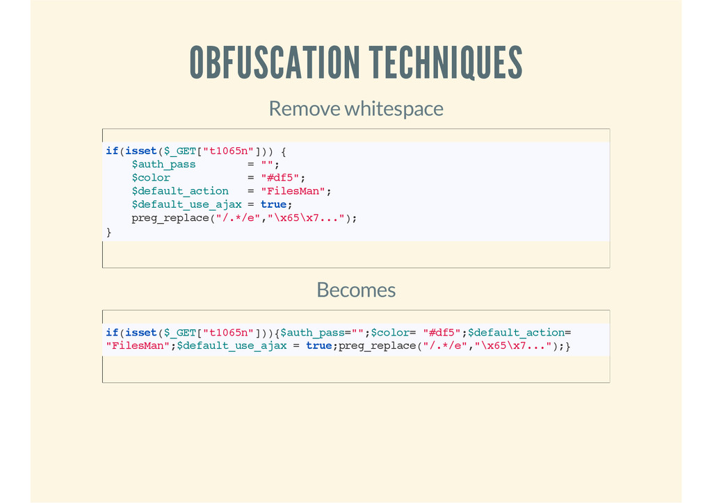 OBFUSCATION TECHNIQUES Remove whitespace if(iss...